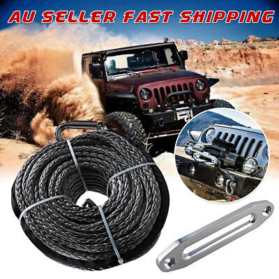"""16500LBS Edition Synthetic Winch Line Cable Rope 3/8""""X95'' & Hawse Fairlead"""