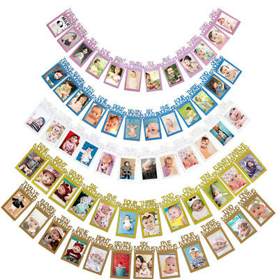 1st Birthday Recording First 12 Month Photo Frame Banner Garlands Bunting Decor