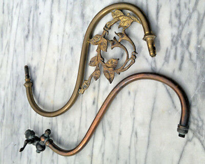 Antique Brass Victorian Gas Burner Bracket Wall Light Sconce Arms - Spares