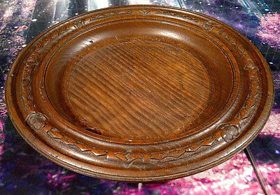 """Antique Carved Turned Oak Church Collection Plate  10.75"""" diameter"""