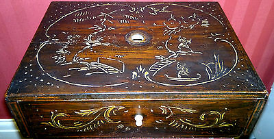 Old Vintage Japanese  Wooden Box Draw {3d faux inlay}??