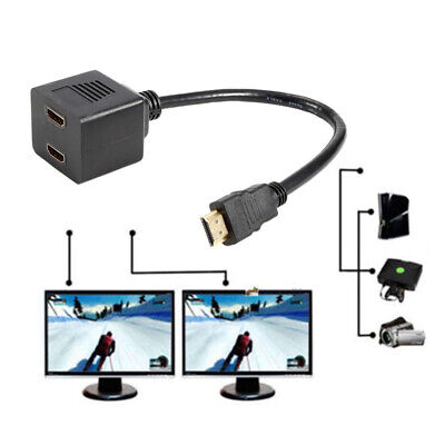HDMI Male To 2x HDMI Female Splitter Adapter Cable Converter 1 In 2 Out 1080p