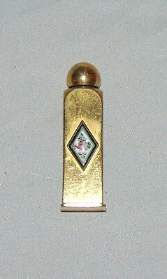 ORNATE MINIATURE PERFUME BOTTLE GOLD Metal Enamel Rose