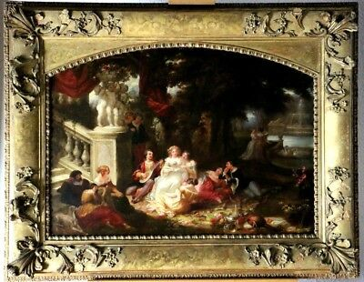 Gorgeous French 19th Century  Oil Painting Romantic Scene