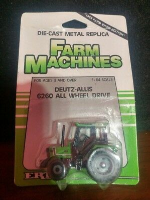 1:64 Scale Deutz-Allis 6260 AWD Ertl 1989 Farm Show Edition Tractor with Package