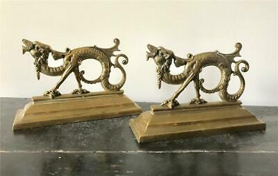 Antique Victorian English Brass Dragon Fireplace Accessories Door Stops c1880's