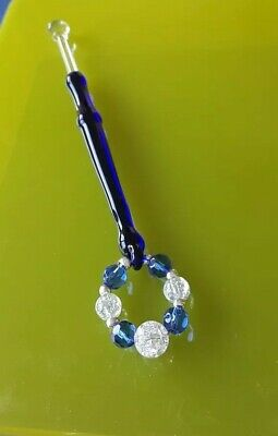 Glass Blue & Clear Lace Bobbin with Blue & Frosted Spangles.