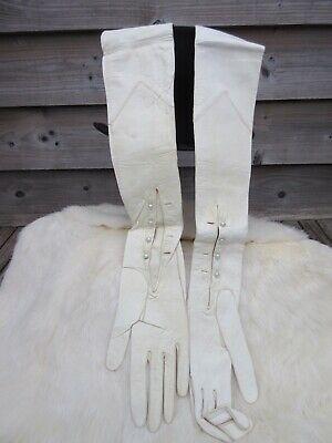 Vintage PENBERTHY oxford st extra long Ivory kid Leather Gloves Pearl Buttons