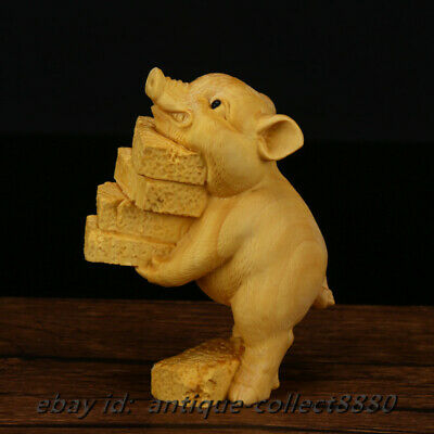 95MM Chinese Box-Wood Hand Carved Twelve Zodiac Animal Lovable Small Pig Statue