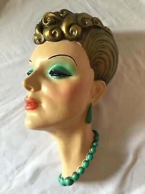 Large deco style wall mask plaque,chalkware glamorous 40s  / REPRODUCTION