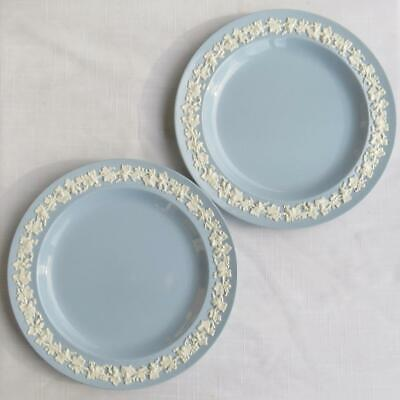 2 Wedgwood Queen's Ware Cream On Lavender Blue Smooth Edge Salad Plates