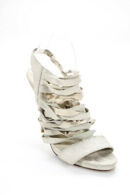 c1ed079161 Elizabeth and James Womens High Heel Sandals Gray Strappy Open Toe Size 8