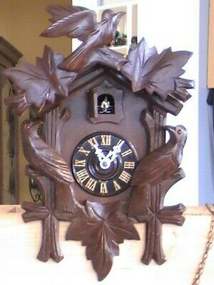 Vintage black forest 3 birds complete cuckoo clock-germany, parts or repair