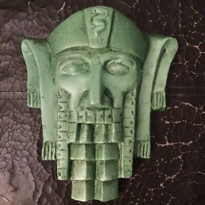 Deco Egyptian Odeon Style  Wall Mask   Plaque ..Chalk Ware Reproduction