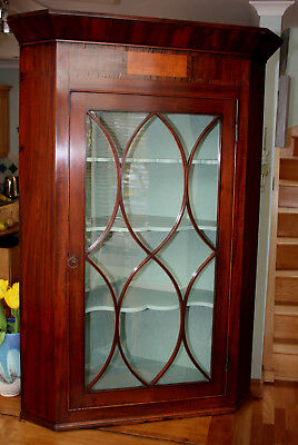 Antique Regency inlaid mahogany, astragal glazed hanging corner cabinet