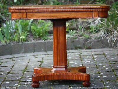 Antique Late Regency / William IV satinwood pedestal card table - fine condition