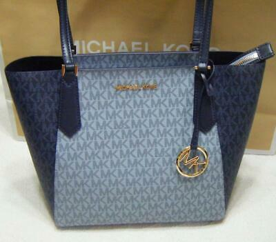 1357219c773e Michael Kors Kimberly Small Bonded Top Zip Tote Pale Blue Admiral MK NWT