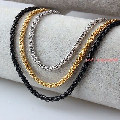 Braided Wheat Link 3-6MM Men Chain Silver/Gold/Black Stainless Steel Necklace