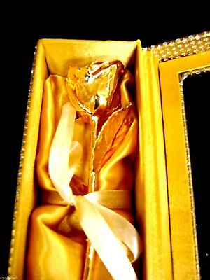 "CHRISTMAS PRESENT Gold Dipped 6"" Real Rose in Gold Egyptian Casket Design Box"