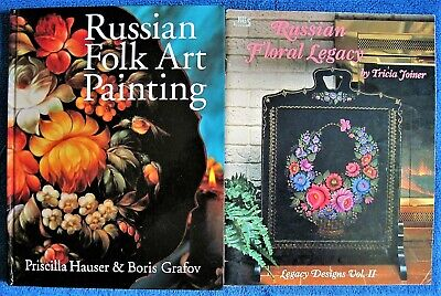 Unused 2 Russian Folk Art Painting Books Hauser Grafov Floral Legacy Joiner Lot