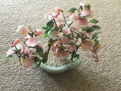 Vintage Asian Pink Green Glass Bonsai Blossom Tree