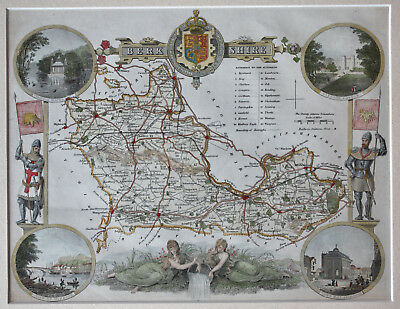Genuine antique map of Berkshire c.1840 hand-coloured and in excellent condition