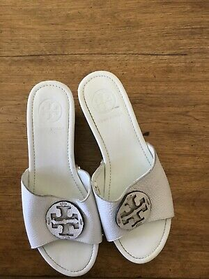 614538ad0 Tory Burch Patti Platform Wedge White Leather Slide Sandals Size 8