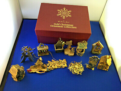 Danbury Mint Gold Christmas Ornament Collection With Original Box 12 Ornaments