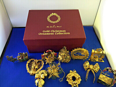 Danbury Mint Gold Christmas Ornament Collection With Original Box 11 Ornaments