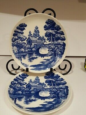 "LOT 6 Vintage Nasco Hand Painted Blue  Lakeview Japan 9"" Plates"
