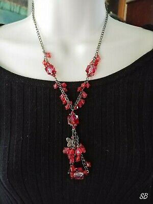 """Vintage Steampunk RED CRYSTAL Glass Beads Bronze Chain Pendant Necklace 19"""""""