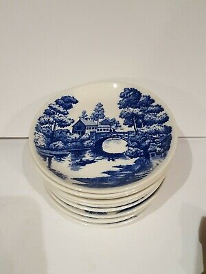"LOT 12 Vintage Nasco Hand Painted Blue Lakeview  Japan 6"" saucers"