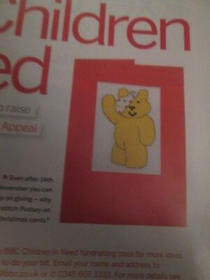 'Pudsey Bear' cross stitch chart (only)