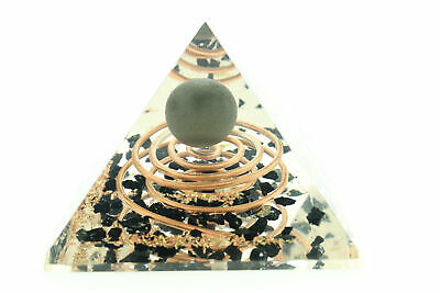Natural Black Tourmaline Sphere & Crystals Orgone Pyramid LG 70mm EMF Protection