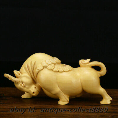 Chinese Box-Wood Hand Carved Zodiac Year Bull Oxen Cattle Ox Wealth Ruyi Statue