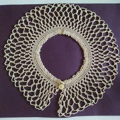Antique Cotton Victorian Style HAND  Crocheted Lace Collar Lace Trim Child/Doll