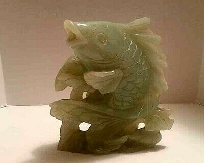 "Antique Mokugyo Fish Gong Bass Fish Chinese Japanese Jade carved 7"" X 7"" Vintage"