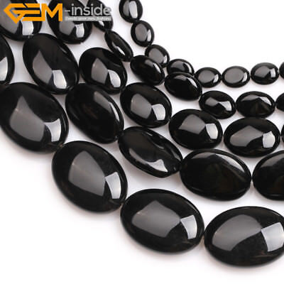 """Natural Oval Black Agate Stone Beads For Jewelry Making Strand 15"""" Wholesale DIY"""