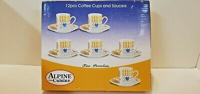 Brand New Alpine Cuisine Fine Porcelain Coffee Tea Cup And Saucer Set 12 Pieces