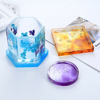 Silicone Coaster Ashtray Pot Mold DIY Tea Cup Mat Round Square Hexagon