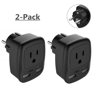 TESSAN USA to Germany France Travel Power Plug Adapter with 2 USB Ports - 2 Pack