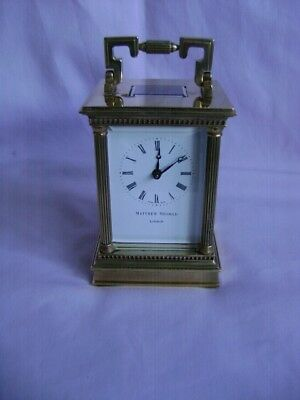 Vintage Matthew Norman Corinthian 1754Gg Carriage Clock + Key In Gwo