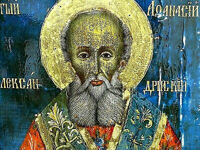 Antique Russian Orthodox icon of Saint Athanasius the Great 19th century.