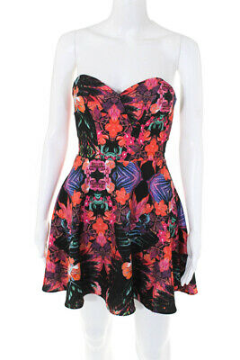 NBD X The Naven Twins Womens Sweetheart Neck Sleeveless Dress Floral Size XS