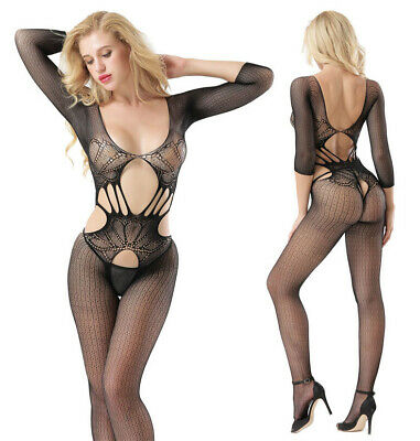 Sexy Women Lingerie Long Sleeve Stretchy Open Crotch Bodystocking Bodysuit Tight