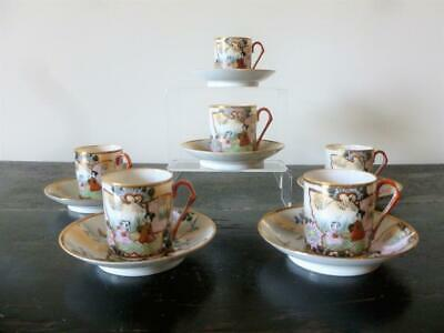 Antique Meiji  6 Japanese Hand Painted Porcelain Cups & Saucers Coffee? Signed