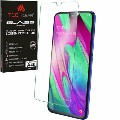 Genuine TECHGEAR TEMPERED GLASS Screen Protector for Samsung Galaxy A40