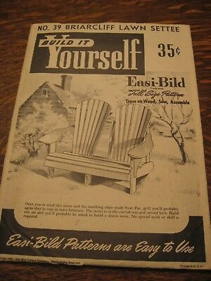 Unused Vintage 1949 Briarcliff Lawn Settee Pattern #39 Easi Bild Build Yourself