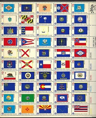 Usa 1976 Mnh State Flag Issue Full Sheet Of 50