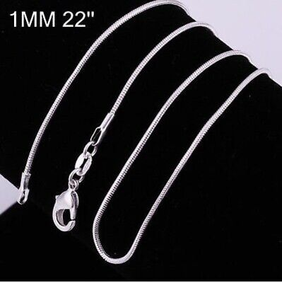 """925 Sterling Silver 1MM 22"""" Classic Snake Necklace Chain Wholesale Bulk Price"""